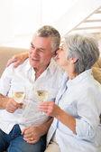 Senior couple sitting on couch having white wine — Stock Photo