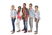 Full length portrait of casually dressed young people — Stock Photo