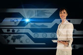 Businesswoman holding tablet — Stock Photo