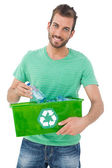 Man carrying recycle container — Stock Photo