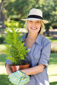 Woman holding potted plant for gardening — Stock Photo