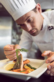 Closeup of a concentrated male chef garnishing food — Stock Photo