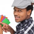 Man with colorful papers — Stock Photo #42931769
