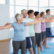 Class stretching hands in row at yoga class — Stock Photo #42931901