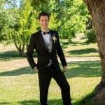 Handsome groom in garden — Stock Photo #42932197