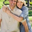 Loving couple spending time together in park — Stock Photo