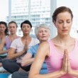 Class sitting with joined hands in row at yoga class — Stock Photo #42932623