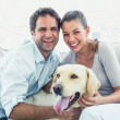 Happy couple petting their yellow labrador on the couch — Stock Photo #42934119