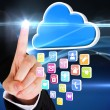 Finger pointing to cloud with app icons — Stock Photo