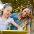 Happy mother and daughter reading a book at park — Stock Photo