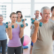 Class exercising with dumbbells in gym — Stock Photo