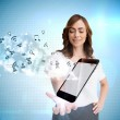 Smiling businesswoman showing app icons and smartphone — Stock Photo
