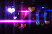 Cool nightlife design with hearts — Stock Photo