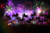 Digitally generated palm tree background with fireworks — Stock Photo