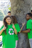 Environmentalists in park — Stock Photo