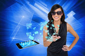 Glamorous brunette using smartphone with email symbols — Stock Photo