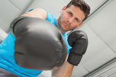 Determined male boxer focused on training — Stok fotoğraf