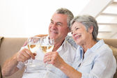 Senior couple sitting on couch having white wine — Stock Photo