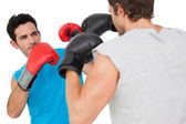 Close-up of two male boxers practicing — Stock Photo
