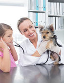 Vet with girl examining puppy in clinic — Stock Photo