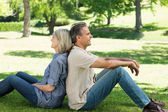 Couple sitting back to back in park — Stock Photo