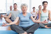 People in lotus pose with eyes closed at fitness studio — Stock Photo