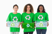 Team of environmental activists holding boxes — Stock Photo