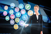 Blonde businesswoman touching app icon interface — Stock Photo