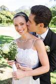 Groom kissing bride on cheek — Stock Photo