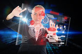 Businesswoman touching interface with earth — Stock Photo