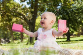 Cute baby with box at the park — Stock Photo