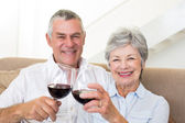 Senior couple sitting on sofa having red wine — Stock Photo