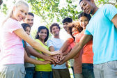 Multiethnic friends stacking hands  — Stock Photo