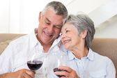 年长的夫妇坐在沙发上喝杯红酒 — 图库照片