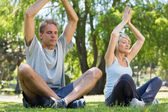 Couple meditating in park — Stock Photo