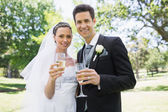 Newlywed couple toasting champagne in park — ストック写真