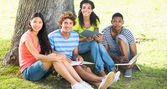 College students studying on campus — Stock Photo