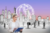 Businesswoman using tablet pc with cityscape — Stock Photo