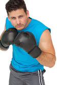 Determined male boxer focused on his training — Stock Photo