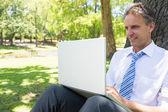Zralé podnikatel pomocí přenosného počítače — Stock fotografie