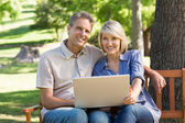 Happy couple using laptop in park — Stock Photo