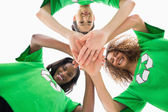 Environmental activists with hands together — Stock Photo