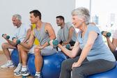 Classe avec haltères assis sur des ballons d'exercice dans la salle de gym — Photo