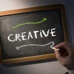 Hand writing Creative on chalkboard — Stock Photo #42972887