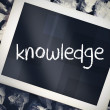 Knowledge against tablet pc with blue screen — Stock Photo