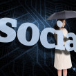 Businesswoman behind the word social — Stock Photo