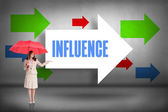 Influence - against arrows pointing — Stock Photo