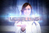 Word modelling and portrait of female nurse — Stock Photo