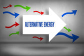 Alternative energy - against arrows pointing — Stock Photo
