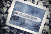 Depression in search bar on tablet screen — Stock Photo
